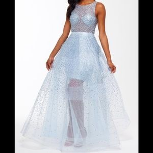 Betsey & Adam Beaded Illusion Organza Elsa Gown